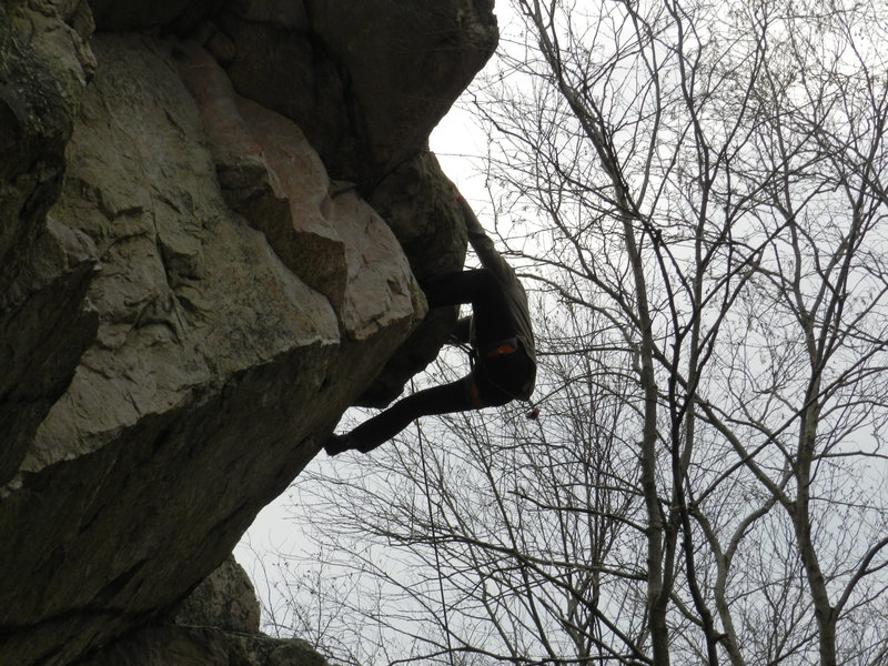 Rock Climbing Photo: David Carrier pulling the roof