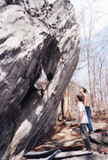 Rock Climbing Photo: V2 dihedral at Rumbling Bald, North Carolina