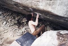 Rock Climbing Photo: Two Pop V9 Lost Cove, North Carolina.  The hardest...