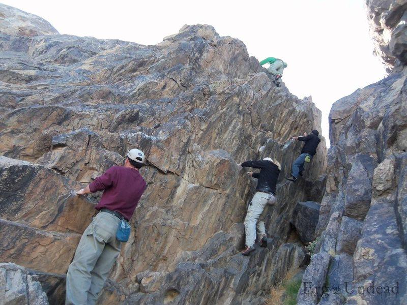 High Desert climbers warming up