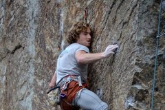 Rock Climbing Photo: Moving into the crux bit