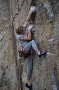 Rock Climbing Photo: A few moves before the crux, on the Echo of Dog si...