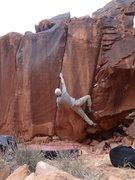 Rock Climbing Photo: Not so secret V6/7 overhung splitter finger crack....