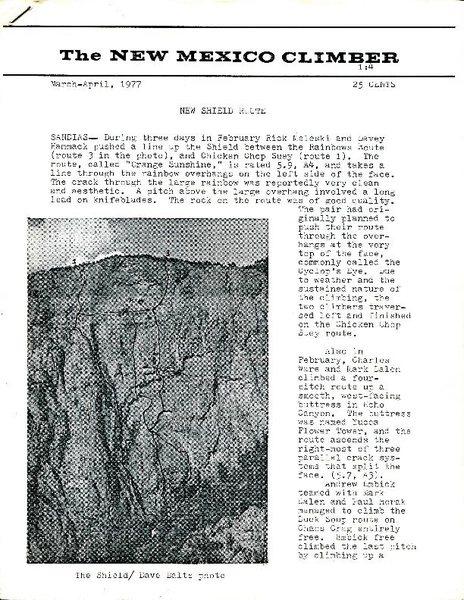 Rock Climbing Photo: New Shield route info circa 1977 ...