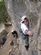 Rock Climbing Photo: Mark pulling thru crux section on SWAG.