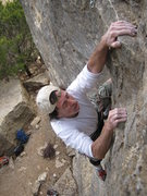 Rock Climbing Photo: Mark pulling thru crux section on SWAG. (And sayin...