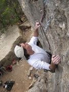 Rock Climbing Photo: Mark clipping the anchors on SWAG, a route first e...