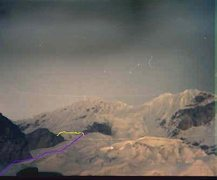 Rock Climbing Photo: Purple line is approximate ascent (the line went o...