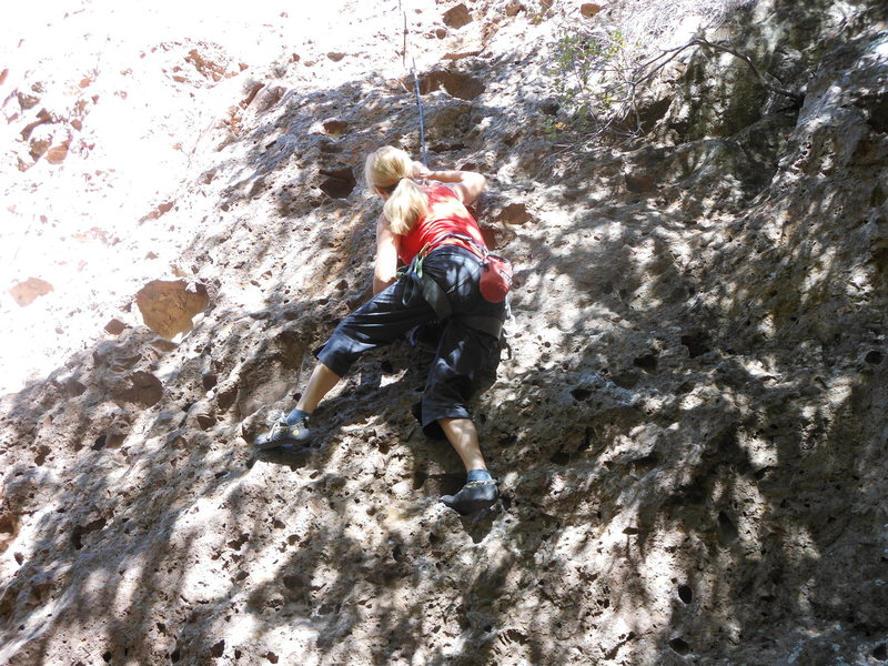 Rock Climbing Photo: Steep pocket pulling at the bulge.