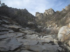 Rock Climbing Photo: The approach gully to the Spire, Spike and south s...