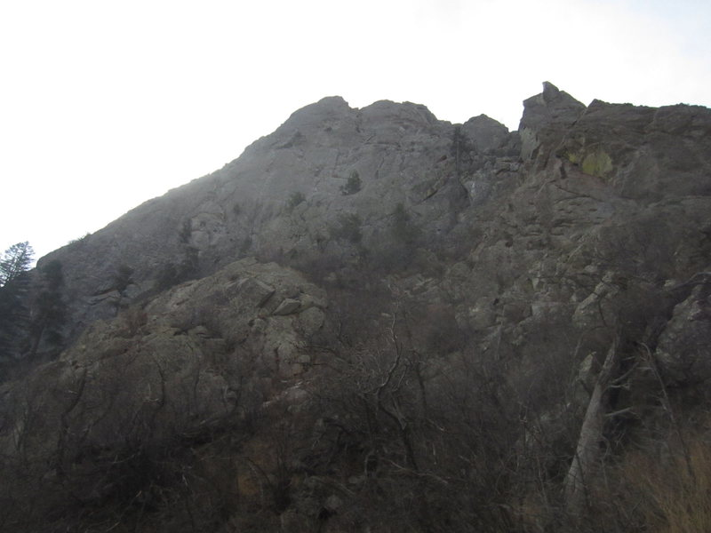North face of the Spire. The Spike is on the right