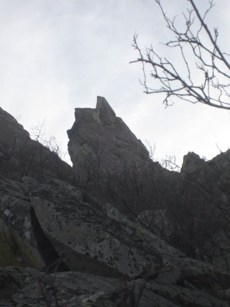 The Spike as seen from the approach gully
