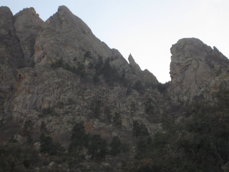 As seen form the Spire approach gully. The 6th Low Horn is on the right
