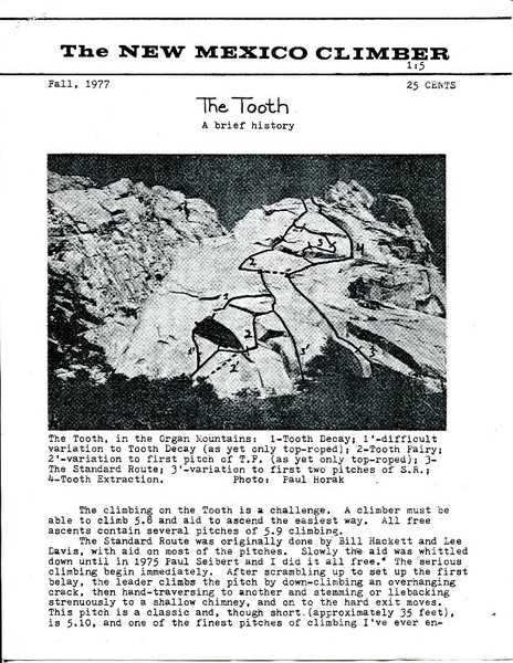 The Tooth - by Paul Horak for The New Mexico Climber (c) 1977, page 1.