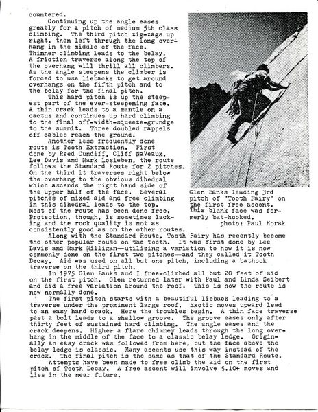 The Tooth - by Paul Horak for The New Mexico Climber (c) 1977, page 2.