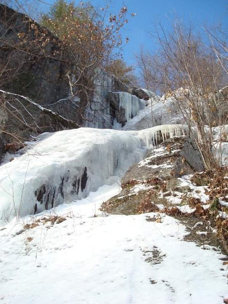 Rock Climbing Photo: Here's the route. Check out that iced wall to the ...