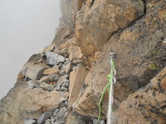 Rock Climbing Photo: RAPPEL #2 Just one bolt for a very steep rap. The ...