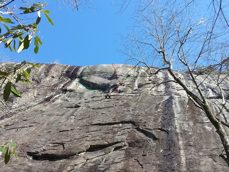 Rock Climbing Photo: The line is in red.  The adjacent lines in green.