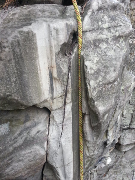 Rock Climbing Photo: Well worn rock near the top of the route.  Only pl...