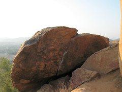 Rock Climbing Photo: Overhung Boulder, Mt. Rubidoux