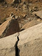 Rock Climbing Photo: The top of Cheater Overhang (V0), Mt. Rubidoux