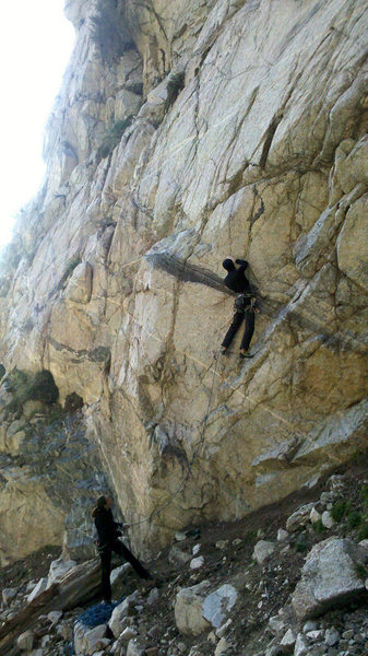 Rock Climbing Photo: Chris Schuessler cruising the FA