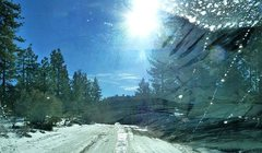 Rock Climbing Photo: Winter driving on Polique Canyon Road (2N09), Big ...