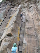 Rock Climbing Photo: The 5.7 warm-up, two bolt anchor
