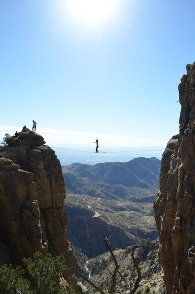 Rock Climbing Photo: Highlining the old man gap! Me sending the line, p...