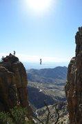 Rock Climbing Photo: Highlining the old man gap! Me sending the line, p...