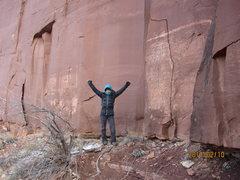 Rock Climbing Photo: Mayan at the base of the climb.