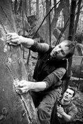 Rock Climbing Photo: Steve laybacking the ultra-classic Shamoo (v5). Mo...
