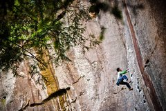 Rock Climbing Photo: Simon cruisin up Amarillo Sunset (5.11b) in the Re...