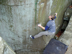 Rock Climbing Photo: Drew intensly flagging on Nockamixion's classic hi...