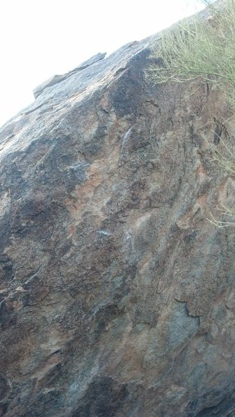 Not the best pic, but you get an idea of the crimps up to the arete.