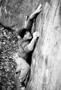 Rock Climbing Photo: Adam sends The Flaming Moe (V4) on a crisp Novembe...