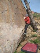 Rock Climbing Photo: Beehive Mantle (V0+), Mt. Rubidoux