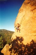 Rock Climbing Photo: Stake Your Claim (5.10d), Holcomb Valley Pinnacles