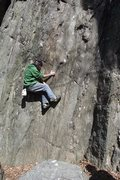 Rock Climbing Photo: Little Dave, a local with skills, laybacking a sch...