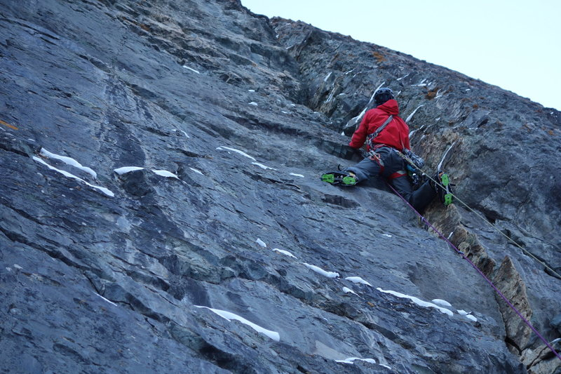 Rock Climbing Photo: Steep climbing on the last pitch.