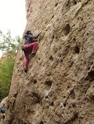 Rock Climbing Photo: Jackie Trejo nearing the over hung portion of the ...
