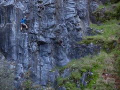 Rock Climbing Photo: caughtinside cranks through the upper crux on Tria...