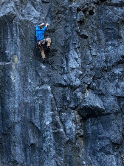 Rock Climbing Photo: Upper moves on Triathlon.   Photo: Corey Gargano