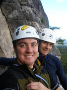 Rock Climbing Photo: My dad and I climbing at Cathedral Ledge, NH.