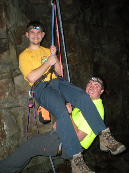 Trying out tandem rappelling.  Might be useful someday, but man was it awkward...