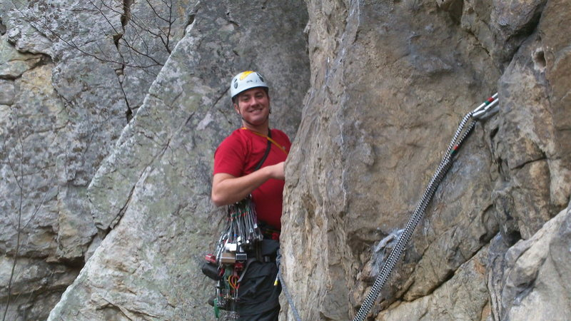 Very happy to be over the first step of the second pitch of Skyline Traverse at Seneca.