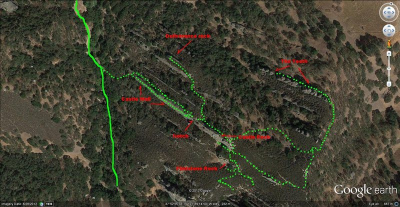 Pine Canyon trail system showing trail system to Deliverance Rock and The Teeth.