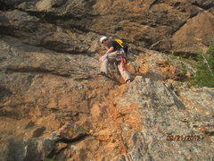 Rock Climbing Photo: D leading the first pitch one week before his birf...