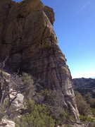 Rock Climbing Photo: The route follows the crack system on the left edg...