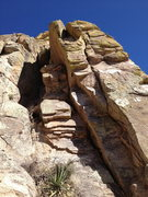 Rock Climbing Photo: Looking up from the base of the climb.  The first ...